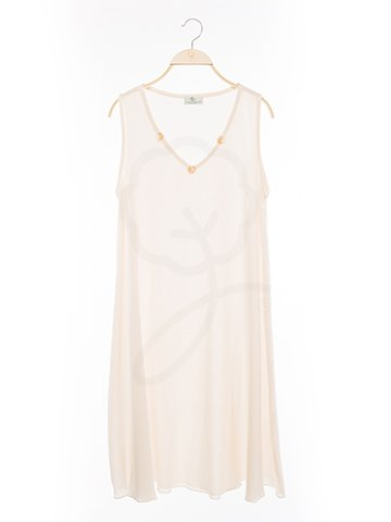 12043 V-Neck Long Dress : Coconut Style Fabric