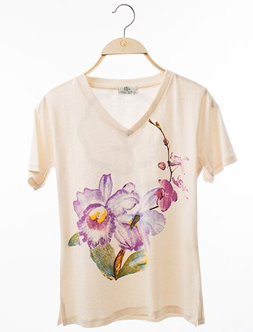 12154 V-Neck T-Shirt : Orchid Screen