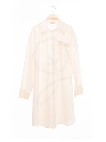 1754 Shirt-Collar Long Dress : Muslin Fabric